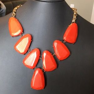 Jewelry - Orange statement necklace with gold tone